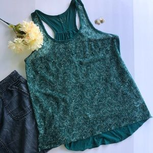 Maurices Green Paisley Lace Front Tank Top